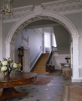 View of the Entrance Hall at Florence Court looking towards the cantilevered staircase