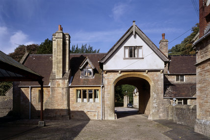 View of the Archway leading into the Stable yard, part of the stable buildings at Tyntesfield