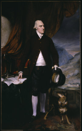 RICHARD PENNANT, LORD PENRHYN OF PENRHYN, COUNTY LOUTH (1739-1808) AND HIS DOG 'CRAB' painted by Henry Thomson RA in the 1790s; at Penrhyn Castle