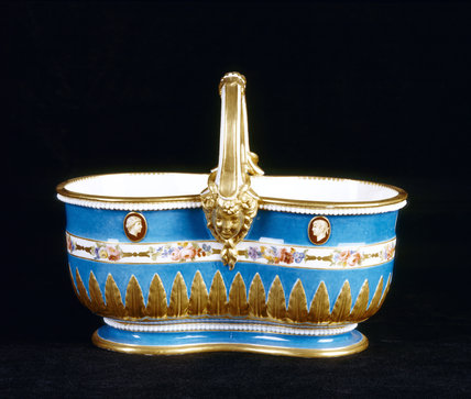 Close view of a Sevres double jardiniere, 1779, in the Porcelain Lobby at Upton House