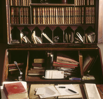 A close up of the Bureau-Bookcase in the Library of the 17th century