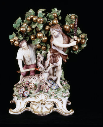 Close view of a Chelsea porcelain figure depicting The Labours of Hercules - Hydra, c