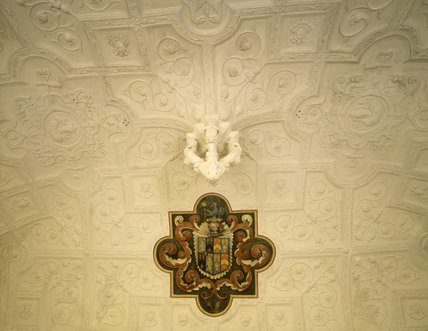 The plasterwork ceiling in the Drawing Room at Canons Ashby c.1632