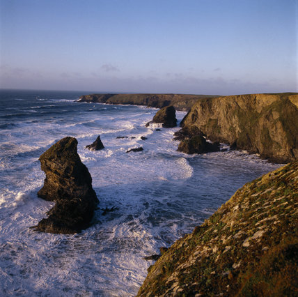Rugged coastline at Bedruthan, showing the Steps and Park Head
