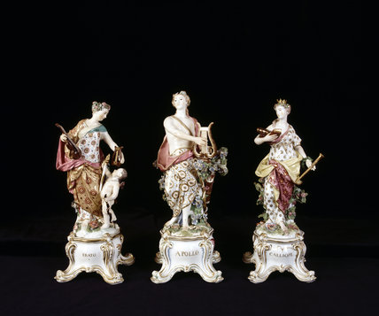 Close view of Chelsea Porcelain figures of Apollo and two of the Muses, c