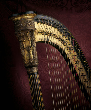 Detail of harp in the South West Room at Fenton House