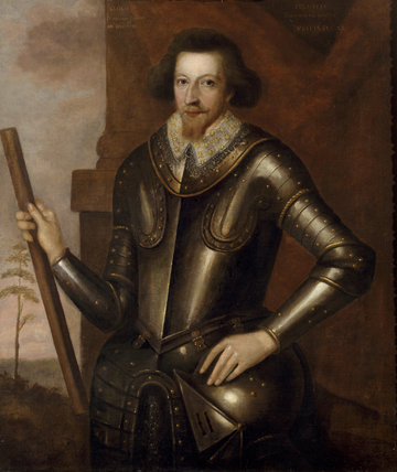 PORTRAIT OF FRANCIS WOLRYCHE (1563-1614), English School, mid-17th century,  The oil on canvas painting is located in The Main Hall at Dudmaston and shows him wearing a suit of armour, holding a helmet and baton