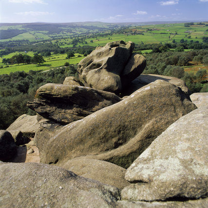 A view of the open moorland and the fantastically shaped rock formations, one named The Monster is in the foreground, at Brimham Rocks