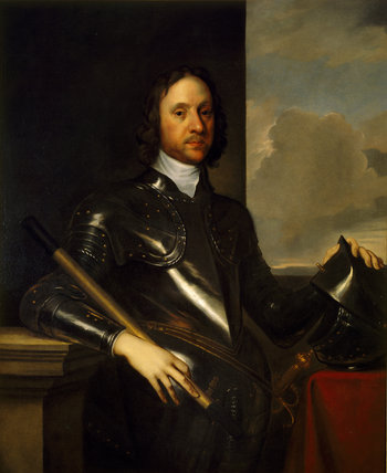 PORTRAIT OF OLIVER CROMWELL after Robert Walker at Dunster Castle who died in 1658