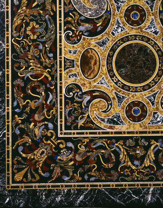 Detail of top of Pietra dura table in the Great Hall