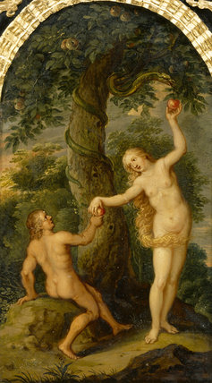 Detail of the Cabinet at Sudbury Hall, depicting Adam and Eve in the Garden of Eden with the serpent coiled round the tree