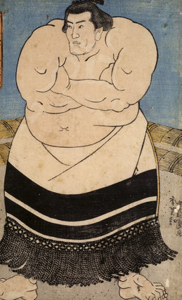A Japanese Print, showing a sumo wrestler one of a collection of prints from Standen