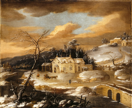 WINTER LANDSCAPE, English School, 18th-century from Dunster Castle