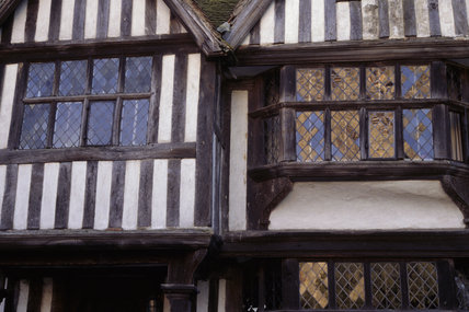 Close up of half timbered jetties on the exterior of Chiddingstone