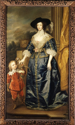 QUEEN HENRIETTA MARIA (1609-69) AND JEFFERY HUDSON, HER DWARF (1619-82) by After Sir Anthony van Dyck, hung in Carved Room in Petworth
