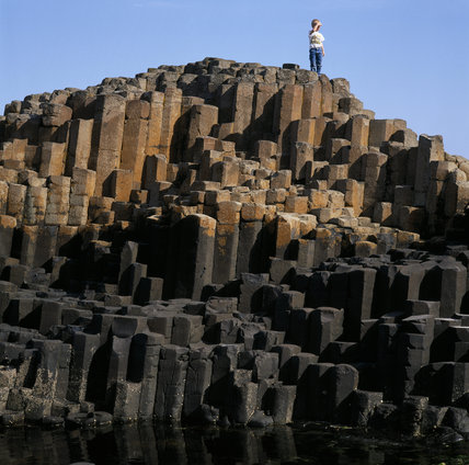 View of the unusual rock formation at Giant's Causeway, Co Antrim, Northern Ireland