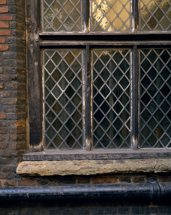 The Armada window C16th at Sutton House, now in it's present 1700 location