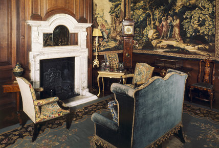 The Tapestry Room, view towards the white marble fireplace, Antony House, Cornwall