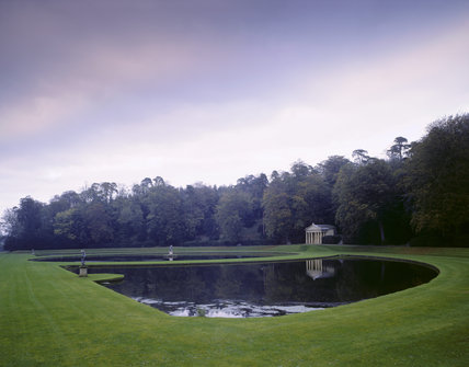 The formal water garden with the Temple of Piety at Studley Royal