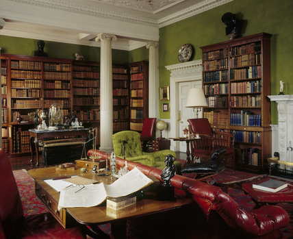 The interior of the Library at Wallington with its fine collection of reading material