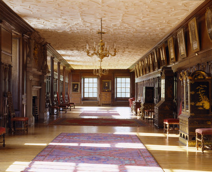A view down the Long Gallery at Lyme Park, with the late C16th