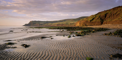 A view of the headland at Ravenscar at the south end of Robin Hood's Bay looking from Boggle Hole beach