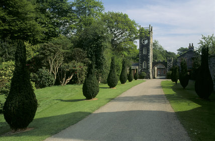 A view of the walled garden at Rowallane showing a line of topiary along the driveway