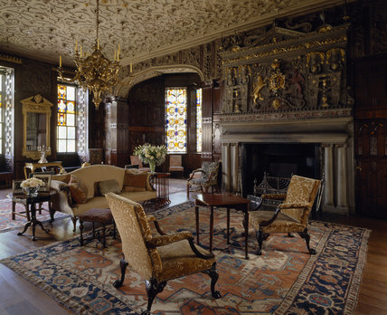 The Drawing Room at Lyme Park, with the fireplace & overmantel