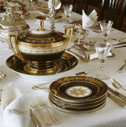 Close-up of a table setting in the Dining Room at Lyme Park