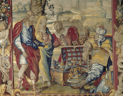 Detail from a set of Mortlake tapestries hanging in the Upper Ante Room, illustrating the history of Abraham and woven after 1657