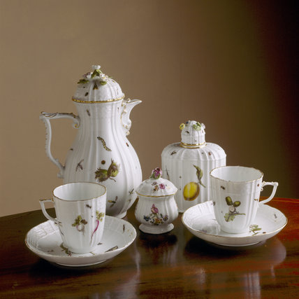 A detailed close up of a meissen coffee set at Wallington