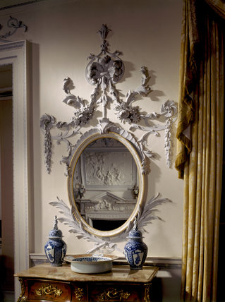 A close up of the decorative plaster mirror surrounds in the Dining Room, made by Pietro Lafranchini in 1740