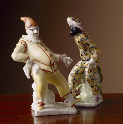 Bow (c.1750-1755) figurines of a harlequin and a palcinella from Wallington.