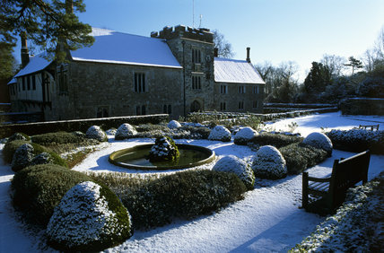 The Fountain Garden at Ightham Mote under a blanket of snow