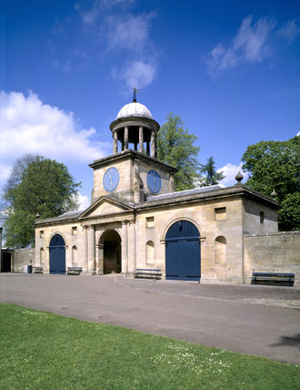 The Clock Tower with its cupola of Doric columns, which was built for Sir Walter Blackett, probably to designs by Daniel Garrett, and completed in 1754