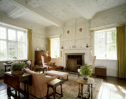 Drawing Room including the overmantel, walnut tallboy, oak table & armchairs