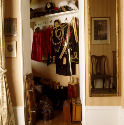 An open closet in the White Dressing Room