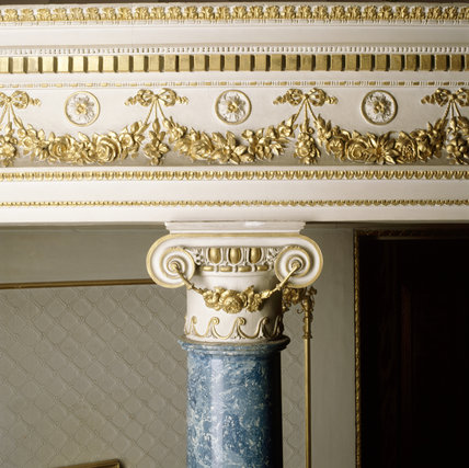 Close-up of the top of a lapis blue scagliola column in the Boudoir