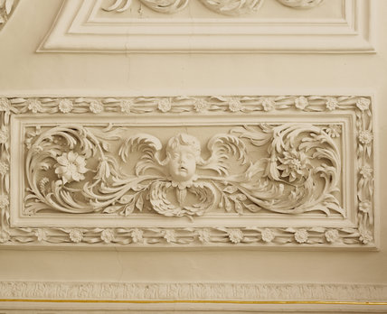 An example of the elaborate plasterwork in the Saloon, executed by Bradbury and Pettifer in 1675