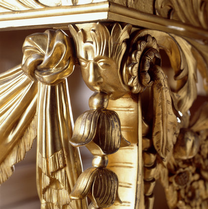 Detail of the corner of a marble-topped gesso console table from the C17/18th, in the Long Gallery