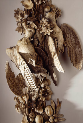 Detail of a carving by Grinling Gibbons in the Drawing Room, over the chimneypiece