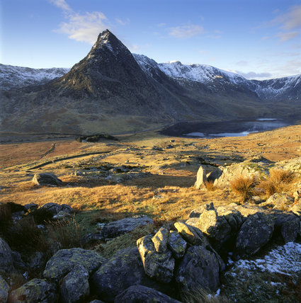 Llyn Ogwen (in shadow) with Glyder Fawr and Y Garn from above Tal Y Llyn Ogwen farm and below Bryn Mawr (the lake south of Carnedd Darfydd) shortly after sunrise, with Tryfan dominating the skyline