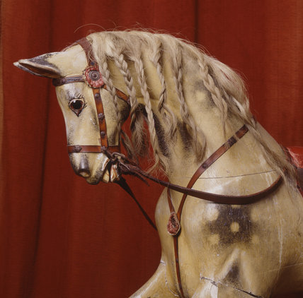 Close-up of the head of the rocking horse in the Nursery