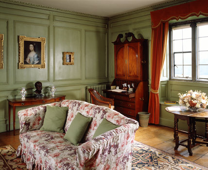 Lady Vernon's Sitting Room decorated in cool green sage, redolent of the 1930s
