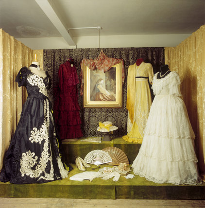 The Costume display in the Tower showing four dresses