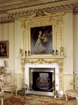 The Alken chimneypiece in the South Drawing Room with painting of Master George Graham (1771-1832) by Tilly Kettle above the mantlepiece
