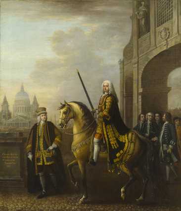 SIR RICHARD HOARE (1709-1754) by John Wootton (1682-1764) Lord Mayor of London 1745, he is pictured seated on a horse with St Paul's Cathedral in the background