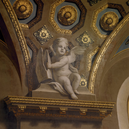 Detail of putti from the ceiling of the Chapel