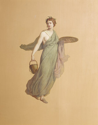 Painting of nymph with bucket in the Pompeian Room at Ickworth