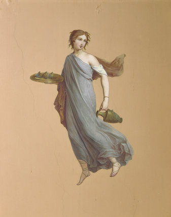 Painting of a nymph with ewer in the Pompeian Room at Ickworth